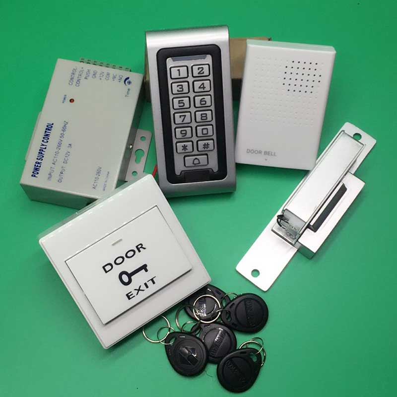 Door Access Control Controller Waterproof IP68 Metal Case RFID Reader Keypad with NC Strike Lock Door Access Control System lpsecurity 125khz id em or 13 56mhz rfid metal door lock access controller with digital backlit keypad ip65 waterproof