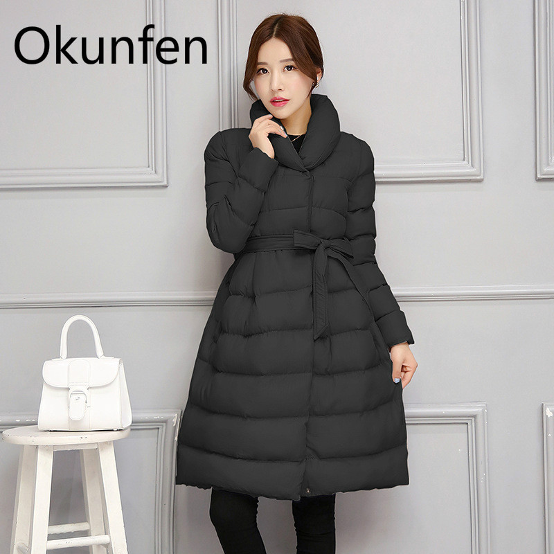 Winter Long Maternity Coat Winter Warm Maternity Down Jacket with Waist Belt Fashion Pregnant Women Outerwear