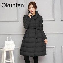 Зимнее длинное пальто для беременных, зимний теплый пуховик для беременных с поясом на талии, модная верхняя одежда для беременных, пальто для беременных