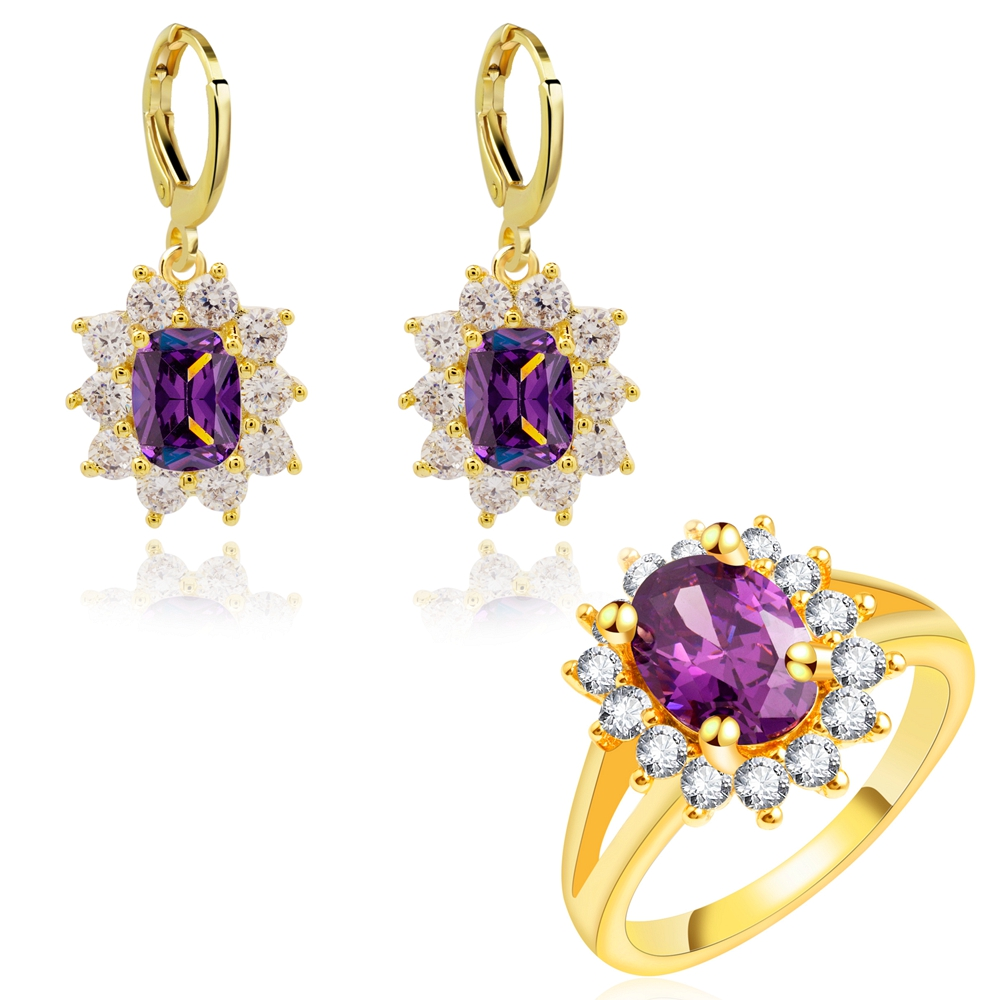 Yunkingdom venta caliente joyería de la boda establece pendientes de cristal de