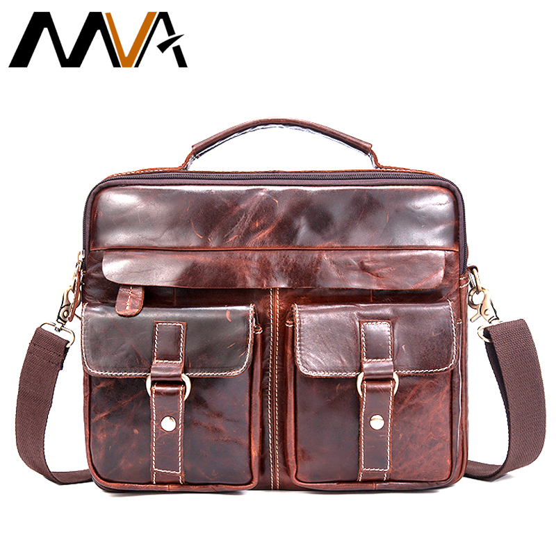 MVA Messenger Bag Men Genuine Leather Men Bag Male Briefcase Shoulder Leather Laptop Bag Crossbody Bags for document Handbags mva men s briefcase leather laptop bag 14 genuine leather men bag men messenger shoulder bags men s crossbody bags handbags