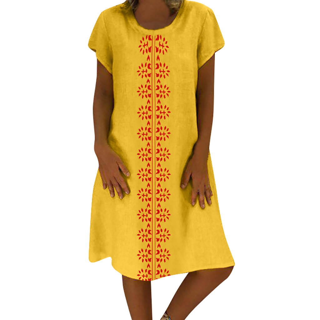 HTB1UdcdO9zqK1RjSZFHq6z3CpXa1 Cotton And Linen women's clothing O-Neck summer dresses and sundresses Printed Plus Size Ladies dresses summer sukienka #G6