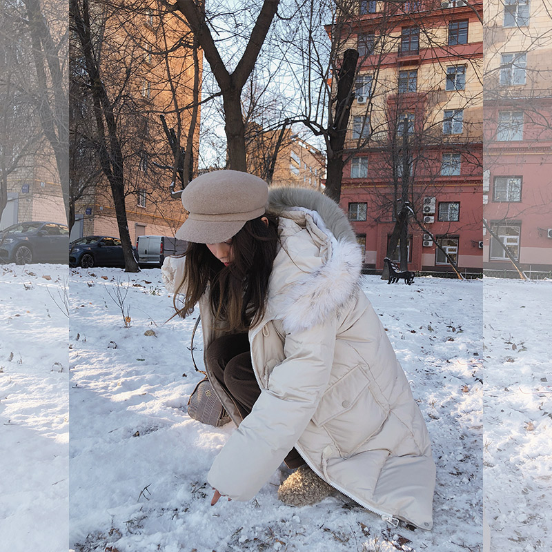 female down jacket hooded 2019 Winter new Korean ladies solid loose warm outwear long down coat fashion MX18D8852