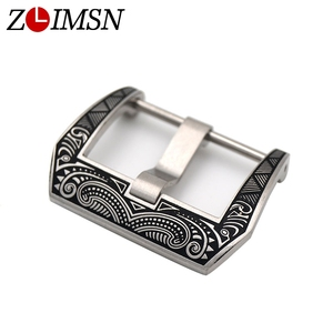 ZLIMSN Engraved Buckle Stainless Steel Watch Buckles Black Watches Carved Clasp 22mm 24mm Relojes Hombre 2019 for Panerai