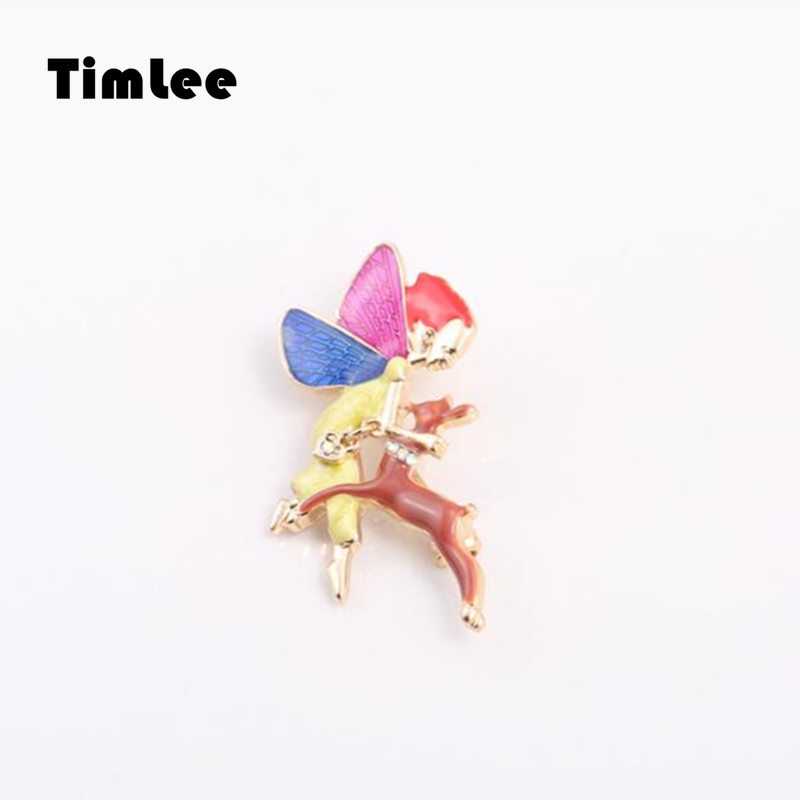 Timlee X050  Beautiful Drop Gaze Enamel Dances With Deer Brooch Pins,Fashion Jewelry Wholesale