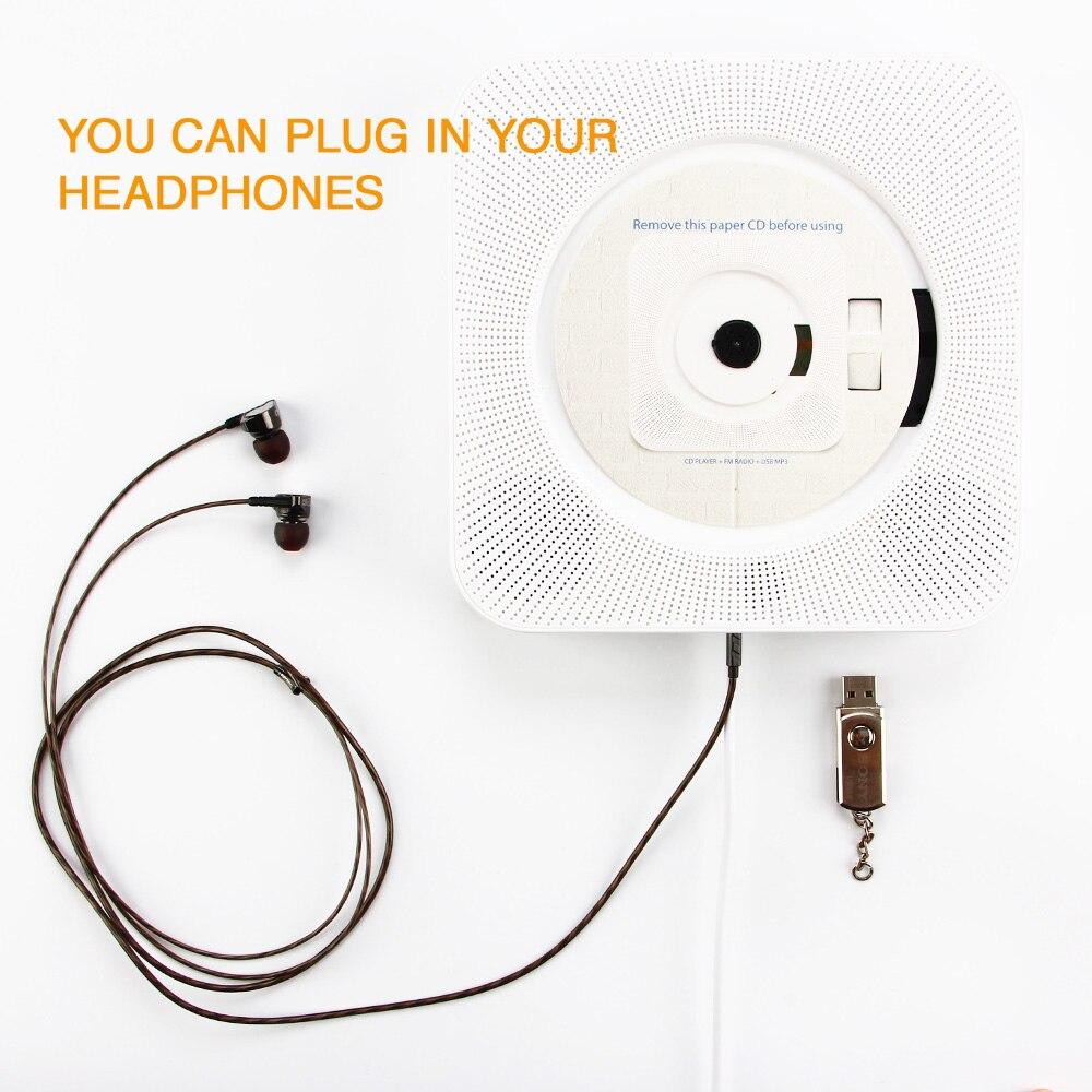 ET CD Player Parede Montada Bluetooth Tocadores de Música com Controle Remoto/3.5 milímetros Fone De Ouvido Jack/USB Suporte Adaptador rádio FM MP3