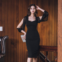 Spring Black Party Elegant  Mesh Sleeve Solid Dress Autumn Women Stree