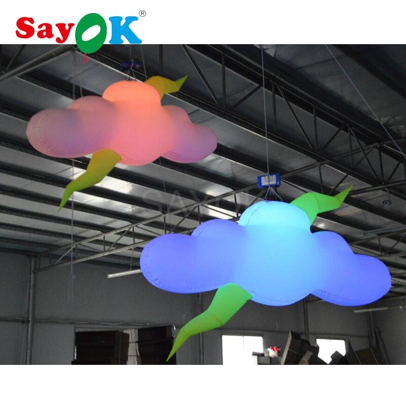 Sayok 2 Mt Aufblasbare Beleuchtung Wolken Modell Nylon Material Mit 16  Farbwechsel LED Licht Für