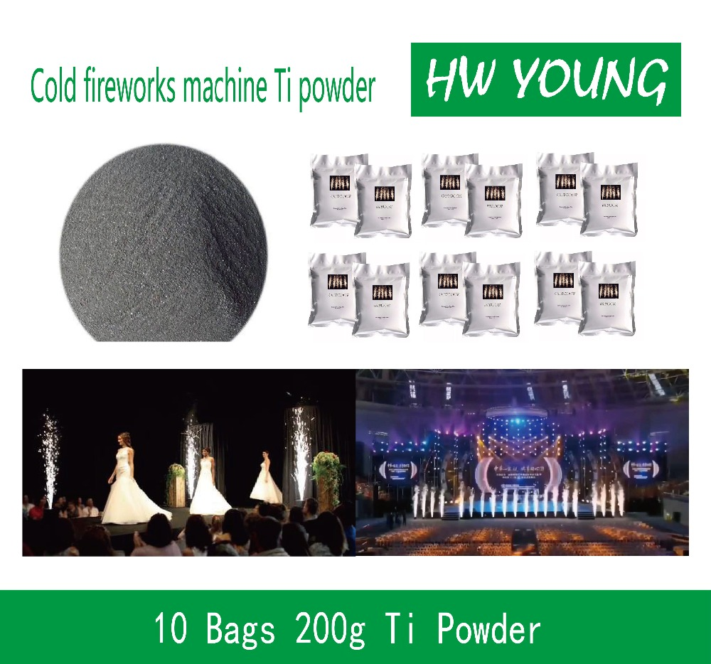 HWyoung 10bags pre200g Ti powder wedding fireworks machine Cold Firework Machine DMX Remote Control Spark Effect Fountain Stage