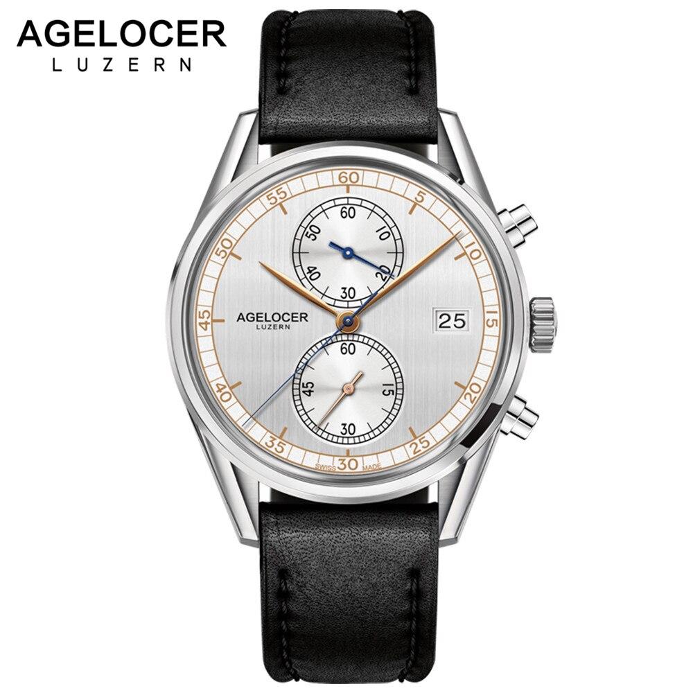 Original Swiss Brand AGELOCER Watches Men Chronograph Casual Wristwatch Calendar Quartz Timepiece with watch box montre homme