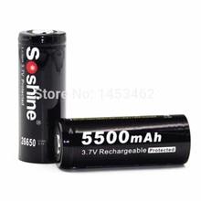 2 шт./пара Soshine 3,7 В 5500 мАч 26650 Батарея защищенный 26650 Перезаряжаемые литий-ионные аккумуляторы ячейке с Батарея держатель дело