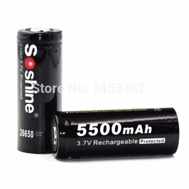 2 pcs/paire soshine 3.7 v 5500 mah 26650 batterie protégée 26650 rechargeable li-ion batteries cellulaire avec batterie titulaire cas