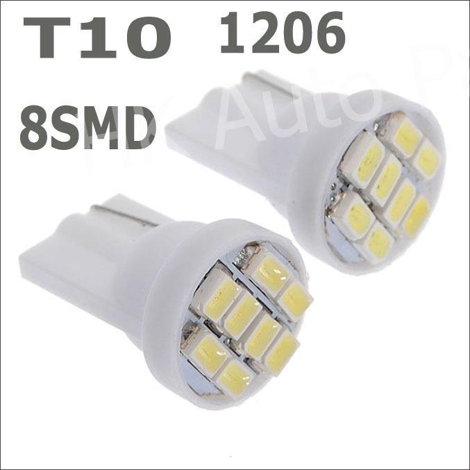 Wholesale 10pcs/lot T10 8smd 1206 8 smd led 194 168 192 W5W super bright Auto led car lighting/t10 wedge led auto lamp white