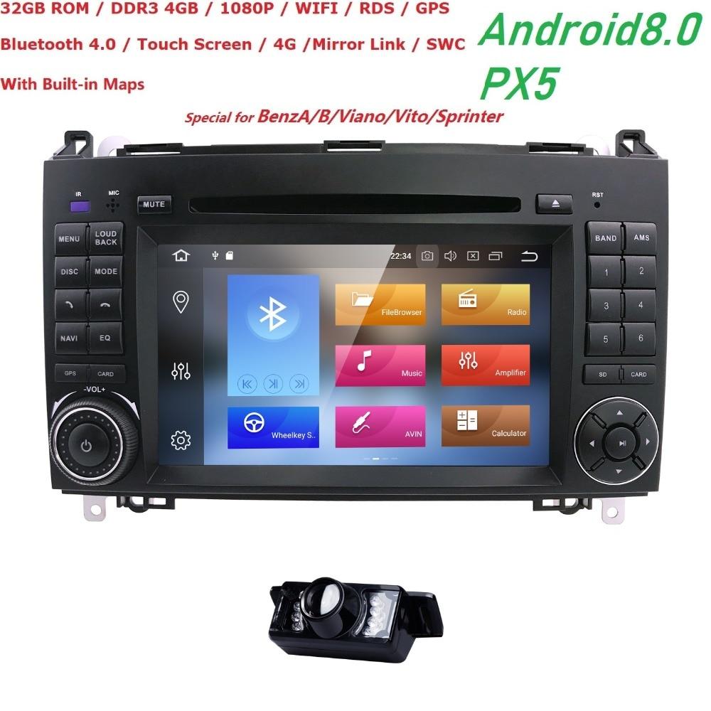 2Din Android8.0 PX5 8 Core Lecteur Cardvd pour Mercedes Benz B Classe B200 UNE Classe W169 W245 Viano Vito W639 sprinter W906 GPS Radio