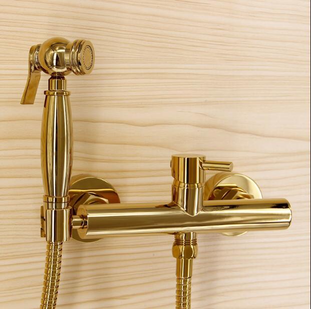 Fashion High Quality Total Brass Gold Bathroom Bidet Faucet Set Toilet Gun Set Luxury Modern