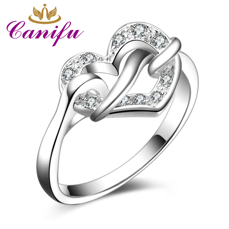 Canifu New arrival Unique Design Heart Hollow Ring With Cubic Zirconia AAA Noble Wedding Jewelry for Women