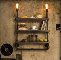 Retro Loft Shelf Wood Wrought Iron Pipe Wall Lights Edison E27 110V/220V Wall Lamp Luminaria for Cafe Bar Home Decoration