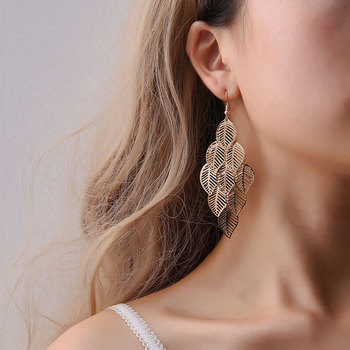 Fashion Hollow Flower Gold Color Leaf Drop Dangling Earrings pendientes Jewelry Wedding Bridal Tassel Long Earrings for women 1