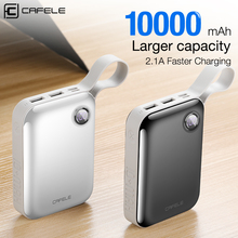 hot deal buy cafele 10000 mah power bank dual usb output external battery pack micro and type c input power bank led display 5v 2.1a