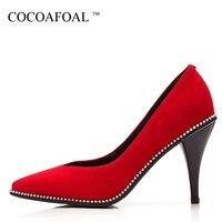 COCOAFOAL Frau Rot Hochzeit Schuhe Plus Größe 34-42 Schaffell Sexy Pumps Stiletto String Bead Spitz High Heels Schuhe 2018