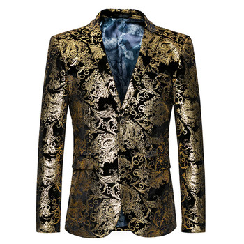 Gold Blazer Men Floral Casual Slim Blazers 2018 New Arrival Fashion Party Single Breasted Male Suit Jacket Plus Size M-6XL