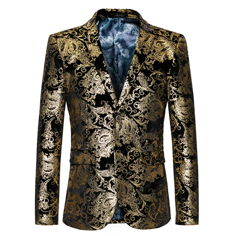 Gold Blazer Men Floral Casual Slim Blazers New Arrival Fashion Party Single Breasted Male Suit Jacket Plus Size M-6xl