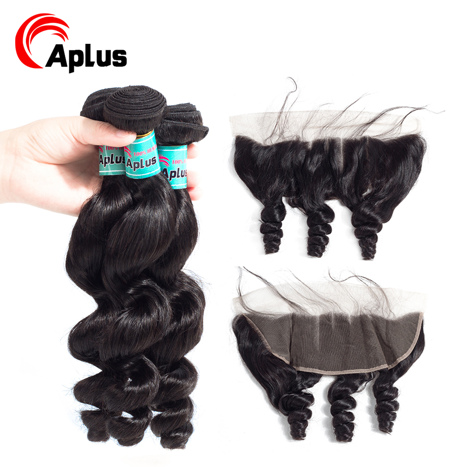Hot Wholesale 100% Human Hair Lace Frontal Closure With Bundles Brazilian Loose Wave 3Bundles Remy Hair Bresiliens Natural Hair