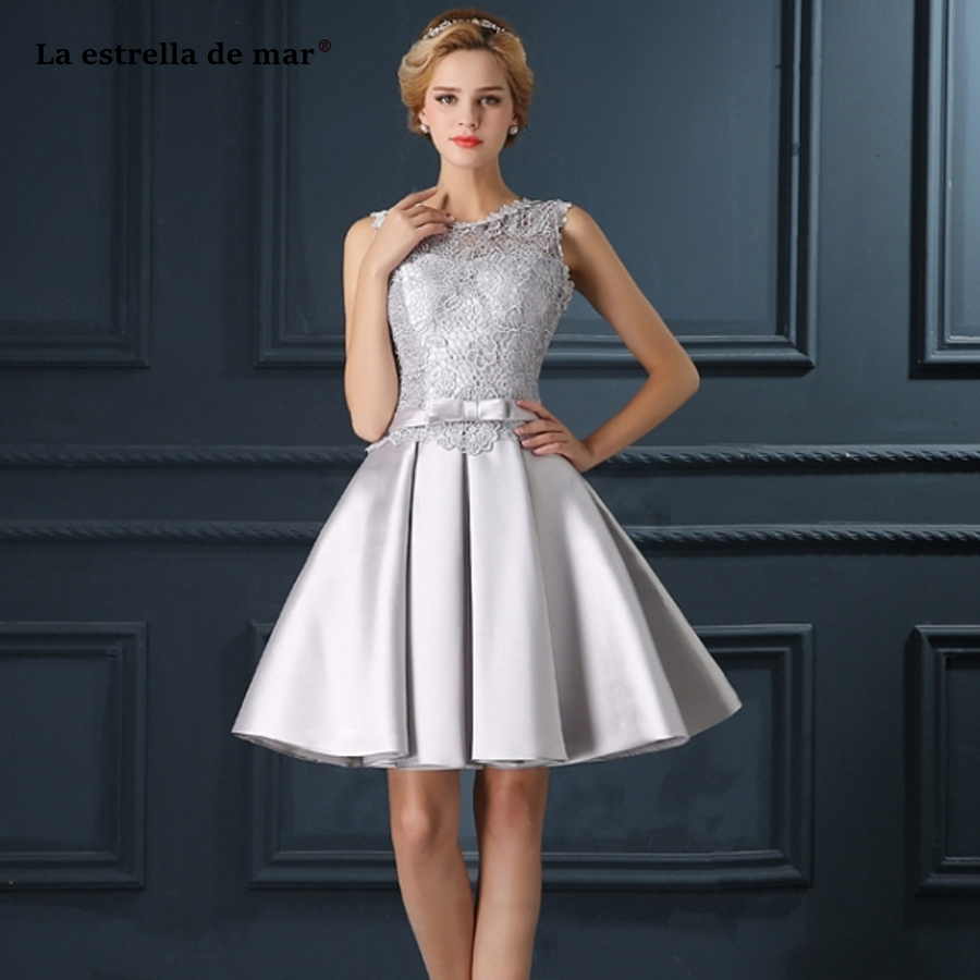 custom wedding party dress2019 new Scoop neck lace satin A Line silver   bridesmaid     dresses   short high quality vestido madrinha