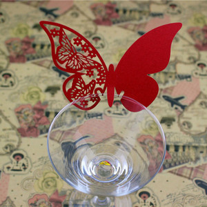 Image 4 - 50Pcs Wine Glass Name Place Card Butterfly Party Cards Table Mark Birthday Wedding Event Party Bar Decorations Party