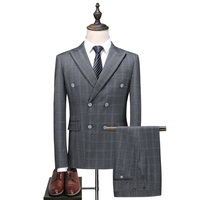 3 Pieces 2018 Man Suit Classic Grey Plaid Double Breasted Wedding Business Suits For Men Slim Fit Coats England Male Tuxedos