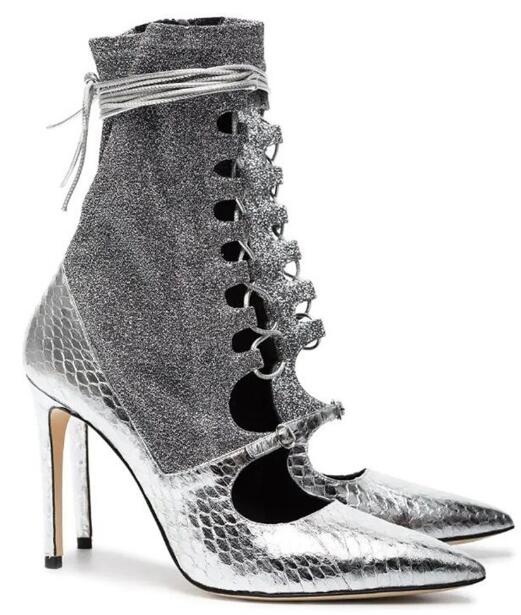 Carpaton 2019 Fashion New Silver PU pointed lace-up super high heel booties sexy stiletto side zipper ankle boots womens shoes Carpaton 2019 Fashion New Silver PU pointed lace-up super high heel booties sexy stiletto side zipper ankle boots womens shoes