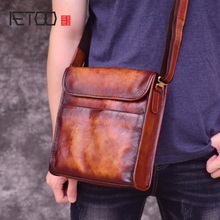 AETOO Retro Mad Horse Purse, head-layer cowhide men's shoulder bag, casual vertical leather crossbody bag