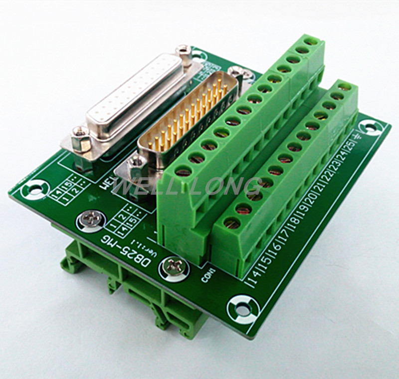 D SUB DB25 Male and Female Header Breakout Board, Terminal Block, Connector.