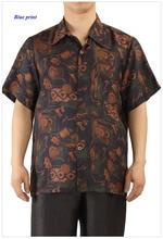 100% gambiered Guangzhou gauze male short-sleeve shirt,pure gambiered Canton silk print turn-down collar casual men shirts