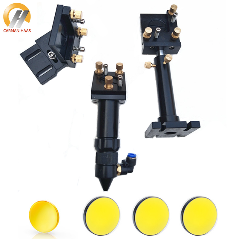 CO2 Laser Head Set Mounting Holder + 1pcs Focus Lens 20mm + 3pcs Si / Mo Reflective Mirrors 25mm For Engraver Cutting Machine 1pcs dia 20mm length 50 8mm china znse co2 laser focus len and 3pcs 25mm silicon mirrors for cutter engraving machine