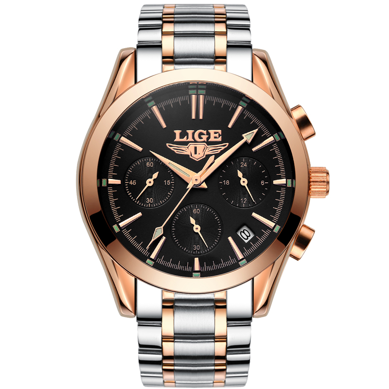 LIGE Mens Watches Top Brand Luxury Full Steel Quartz Watch Men Military Sports Wrist watches Man Business Clock Relogio Masculio xinge top brand luxury leather strap military watches male sport clock business 2017 quartz men fashion wrist watches xg1080