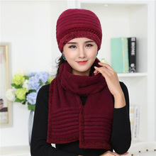 Ladies Warm Velvet Knit Hat and Scarf