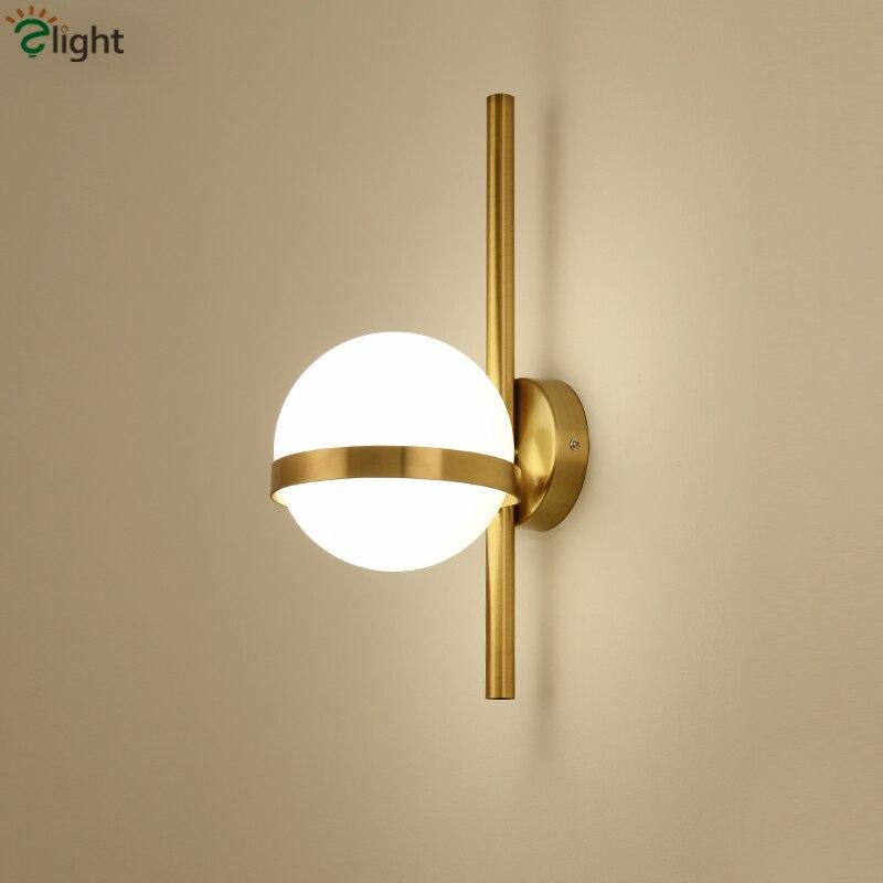 Nordique minimalisme Globe de verre Lustre E27 mur LED lampe couloir rétro mur LED Scones noir/or métal Luminaires éclairage