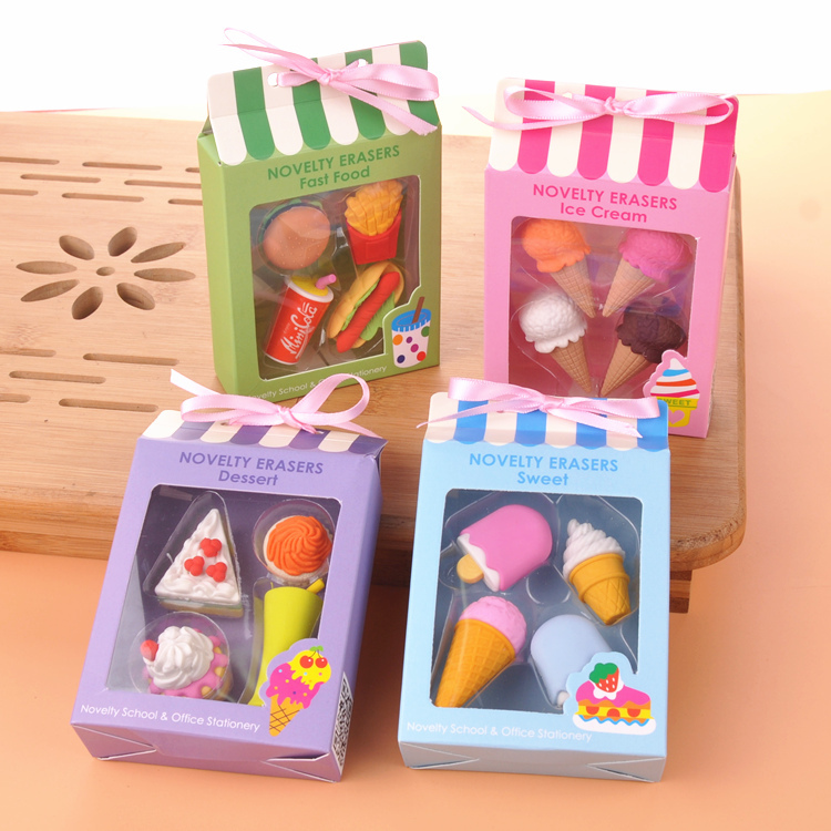 4 pcs/pack Creative Cartoon Modelling Erasers Students Erasers Hamburger Ice Cream Shape Erasers Children Gifts