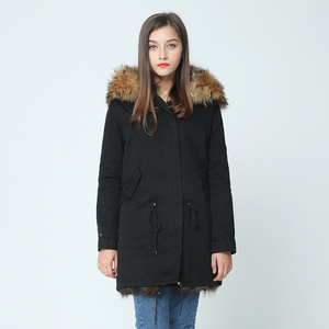 Image 3 - OFTBUY 2020 long winter jacket women outwear thick parkas raccoon natural real fur collar coat hooded real warm fox fur liner