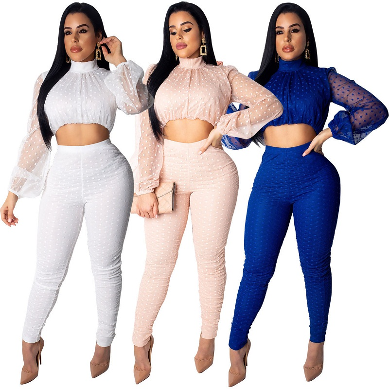 <font><b>Sexy</b></font> Casual Outfits Tracksuit Women Long Sleeve <font><b>Short</b></font> Tops Pencil Pants Dot Hollow Out Two Piece Set <font><b>Ensemble</b></font> <font><b>Femme</b></font> Dos Piezas image