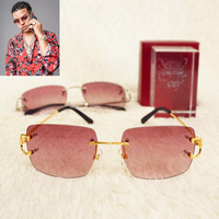 Vintalge Square Pink Sunglasses Men Carter Red Glassses Frame Fashion Sun Glasses for Women Special Wholesale Gold Sunglasses