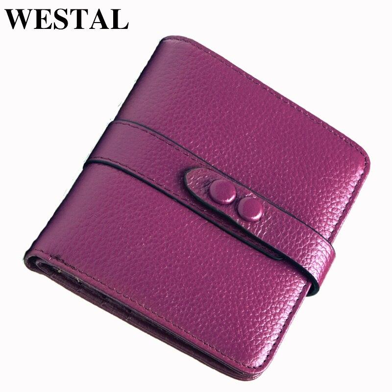 WESTAL Two Fold Wallets Genuine Leather Wallet Women Wallets Brand Design Hasp Wallet Short Women Purse Bag Card Holder Purse