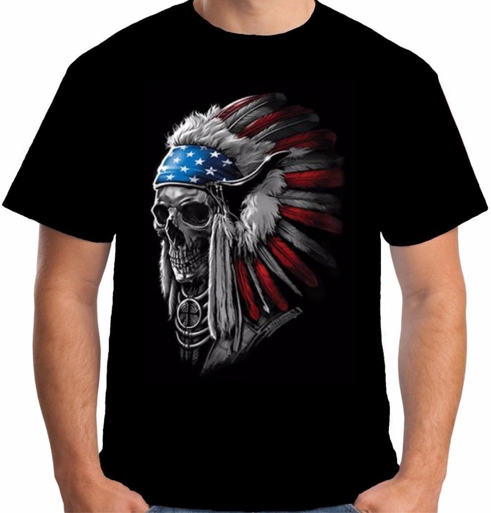 T Shirt Making Company Gildan Short O-Neck Short-Sleeve T Shirts Native American Indian Chief Skull Motorcycles For Men