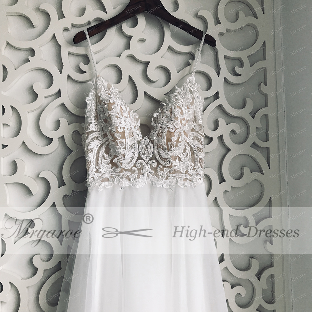Mryarce Exclusive lace Beading Flowing Tulle A Line  Wedding Dress Open Back Summer Beach Elegant Bridal Gowns  (6)