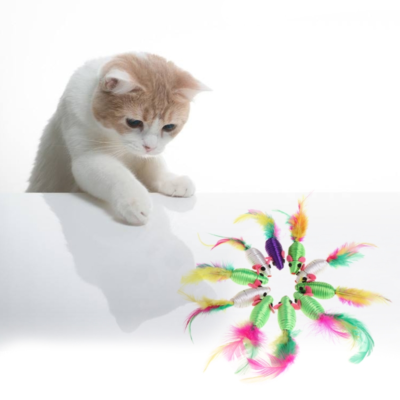 10Pcs cute Feather Toys Silk Yarn False Mouse Cat Toys Colorful Feather Lovely Chew Playing Toys Cat Toys Kitty Kitten Supplies in Cat Toys from Home Garden