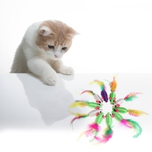 10Pcs cute Feather Toys Silk Yarn False Mouse Cat Colorful Lovely Chew Playing Kitty Kitten Supplies