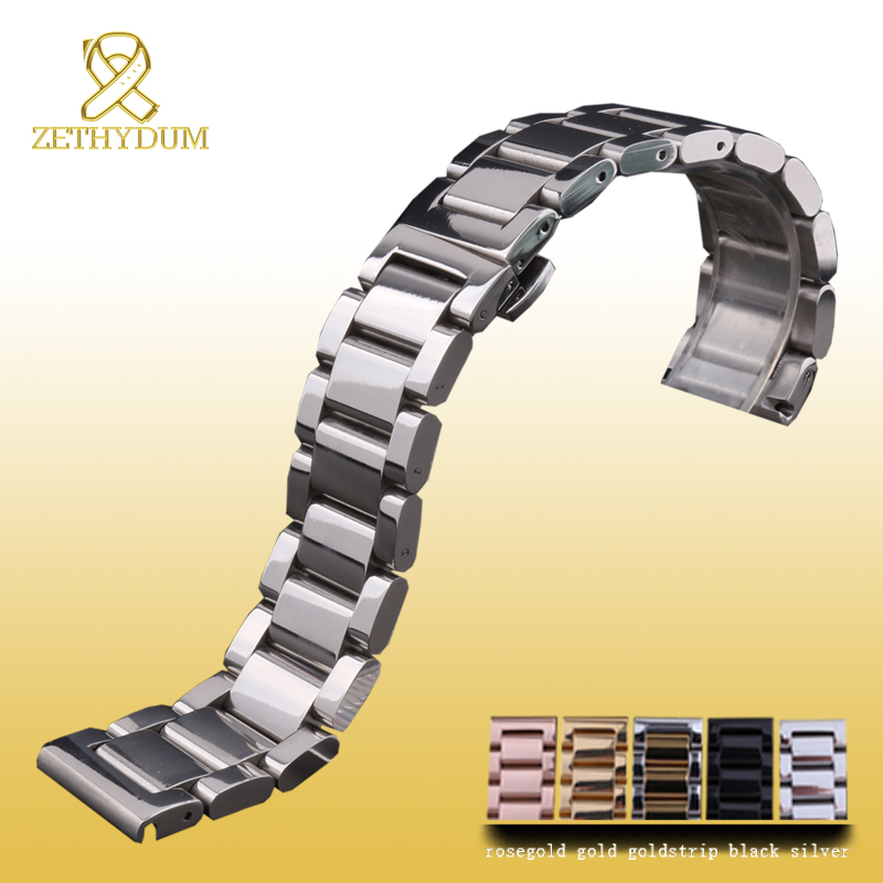 Stainless steel bracelet solid metal watchband Butterfly clasp18 20 21 22mm watch strap wristwatches band black silver rose gold watch band strap stainless steel 20mm 22mm men women straight end bracelet silver rose gold watchband clasp accessories