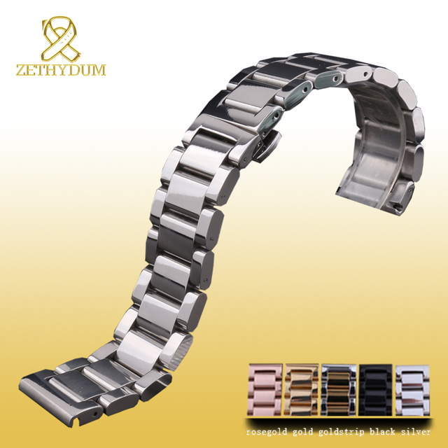 Stainless steel bracelet solid metal watchband Butterfly clasp18 20 21 22mm watch strap wristwatches band black silver rose gold