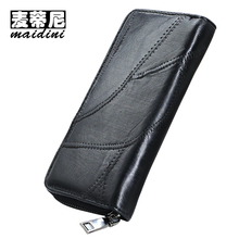 Luxury Brand Women Wallet Genuine Leather Sheepskin Womens Wallet Long Design Ladies Thread Black Purse for Phone Money Bag
